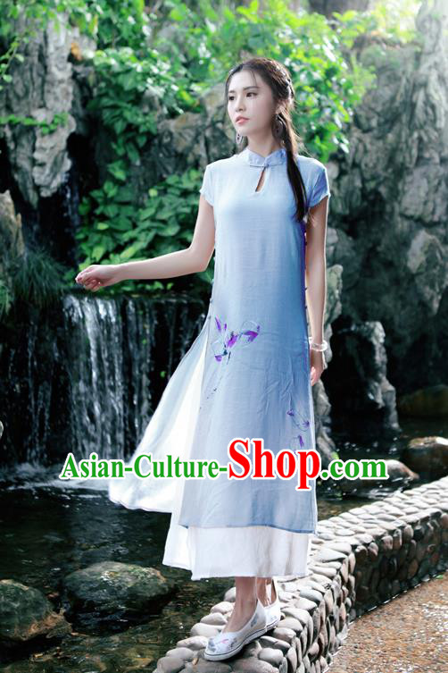 Traditional Ancient Chinese National Costume, Elegant Hanfu Mandarin Qipao Painting Lotus Blue Dress, China Tang Suit Chirpaur Republic of China Cheongsam Upper Outer Garment Elegant Dress Clothing for Women