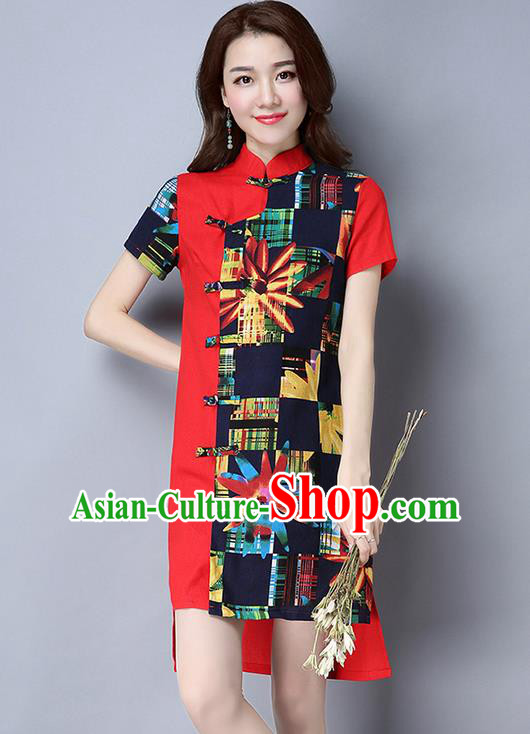 Traditional Ancient Chinese National Costume, Elegant Hanfu Mandarin Qipao Linen Multicolor Red Dress, China Tang Suit Chirpaur Republic of China Cheongsam Upper Outer Garment Elegant Dress Clothing for Women