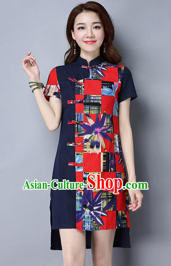 Traditional Ancient Chinese National Costume, Elegant Hanfu Mandarin Qipao Linen Multicolor Navy Dress, China Tang Suit Chirpaur Republic of China Cheongsam Upper Outer Garment Elegant Dress Clothing for Women