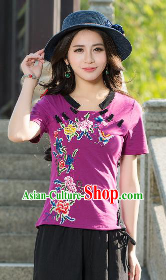 Traditional Chinese National Costume, Elegant Hanfu Embroidery Butterfly Flowers Purple T-Shirt, China Tang Suit Republic of China Plated Buttons Blouse Cheongsam Upper Outer Garment Qipao Shirts Clothing for Women