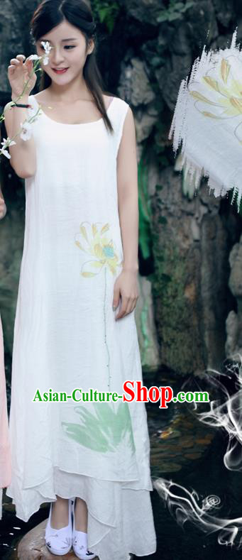 Traditional Ancient Chinese National Costume, Elegant Hanfu Painting Flowers White Long Dress, China Tang Suit Chirpaur Republic of China Cheongsam Upper Outer Garment Elegant Dress Clothing for Women