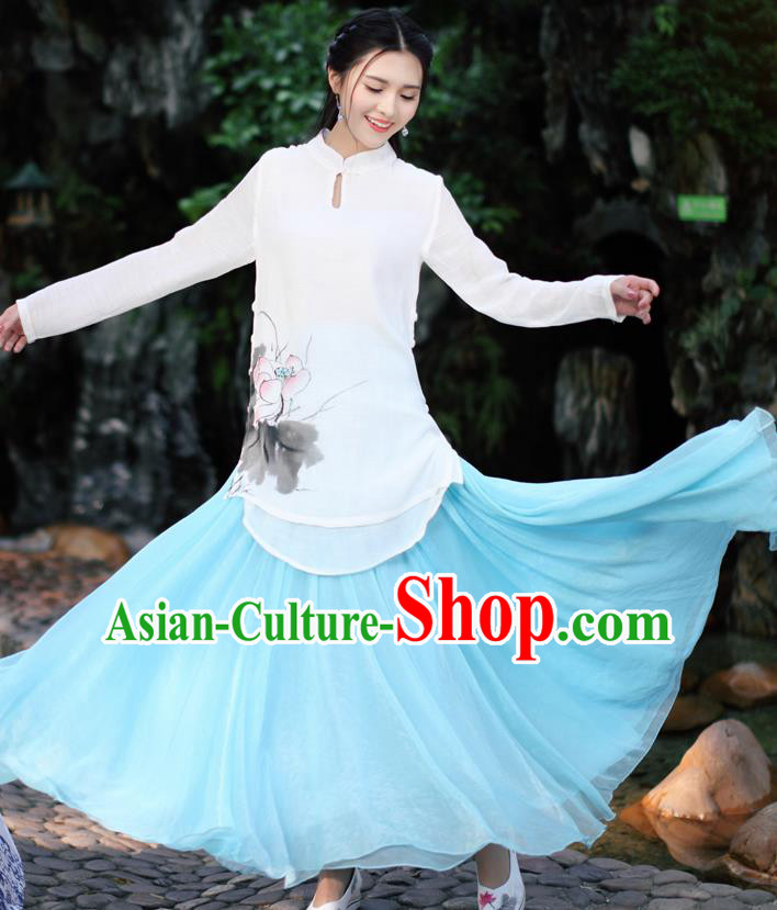Traditional Chinese National Costume, Elegant Hanfu Ink Painting Lotus Flowers Stand Collar White Shirt, China Tang Suit Republic of China Plated Buttons Blouse Cheongsam Upper Outer Garment Qipao Shirts Clothing for Women