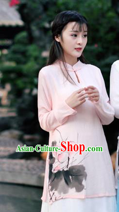 Traditional Chinese National Costume, Elegant Hanfu Ink Painting Lotus Flowers Stand Collar Pink Shirt, China Tang Suit Republic of China Plated Buttons Blouse Cheongsam Upper Outer Garment Qipao Shirts Clothing for Women