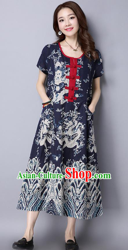 Traditional Ancient Chinese National Costume, Elegant Hanfu Linen Painting Navy Long Dress, China Tang Suit Chirpaur Republic of China Cheongsam Upper Outer Garment Elegant Dress Clothing for Women