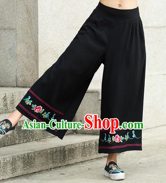 Traditional Chinese National Costume Loose Pants, Elegant Hanfu Embroidered Black Wide-leg Trousers, China Ethnic Minorities Folk Dance Baggy Pants for Women