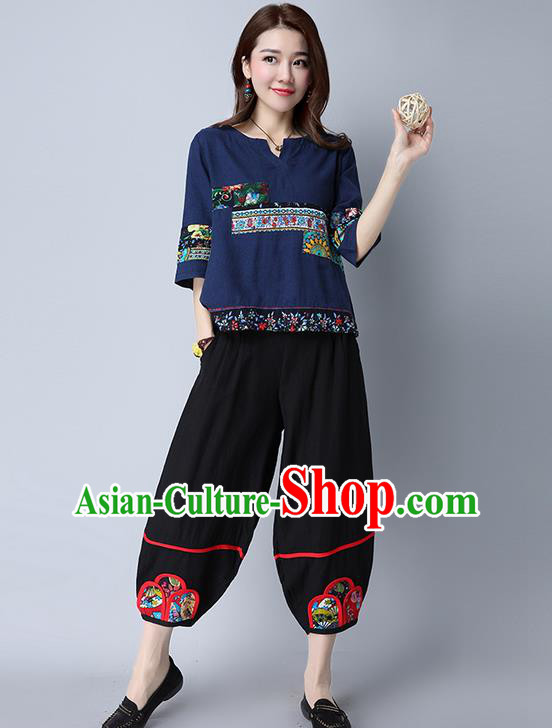 Traditional Chinese National Costume Plus Fours, Elegant Hanfu Patch Embroidered Black Bloomers, China Ethnic Minorities Tang Suit Pantalettes for Women