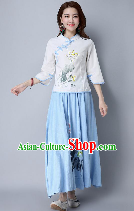 Traditional Chinese National Costume, Elegant Hanfu Painting Lotus Slant Opening Shirt, China Tang Suit Republic of China Plated Buttons Blouse Cheongsam Upper Outer Garment Qipao Shirts Clothing for Women