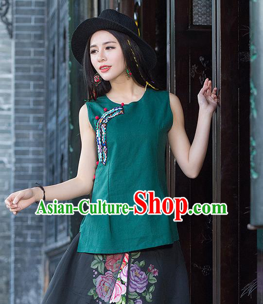Traditional Chinese National Costume, Elegant Hanfu Embroidery Flowers Slant Opening Green T-Shirt, China Tang Suit Republic of China Plated Buttons Blouse Cheongsam Vest Upper Outer Garment Qipao Shirts Clothing for Women