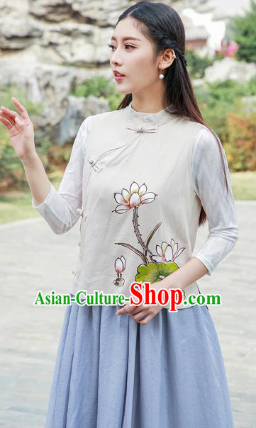 Traditional Chinese National Costume, Elegant Hanfu Painting Lotus Stand Collar Beige Vest Shirt, China Tang Suit Republic of China Plated Buttons Blouse Cheongsam Upper Outer Garment Qipao Waistcoat Clothing for Women