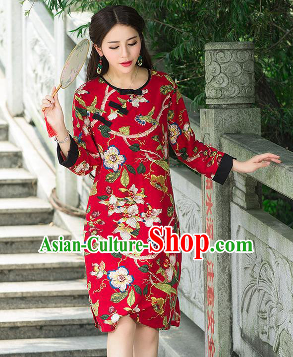 Traditional Ancient Chinese National Costume, Elegant Hanfu Mandarin Qipao Linen Painting Red Dress, China Tang Suit Chirpaur Republic of China Stand Collar Cheongsam Upper Outer Garment Elegant Dress Clothing for Women