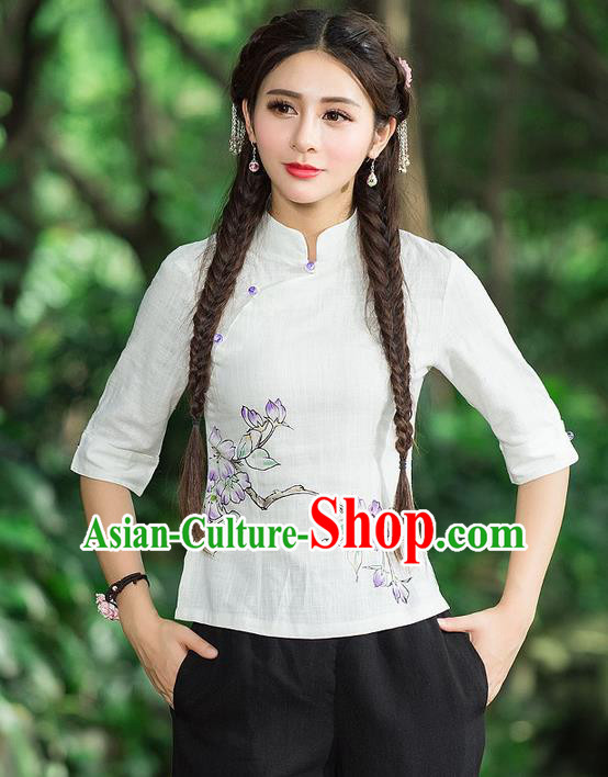 Traditional Chinese National Costume, Elegant Hanfu Printing Flowers Slant Opening Shirt, China Tang Suit Republic of China Blouse Cheongsam Upper Outer Garment Qipao Shirts Clothing for Women