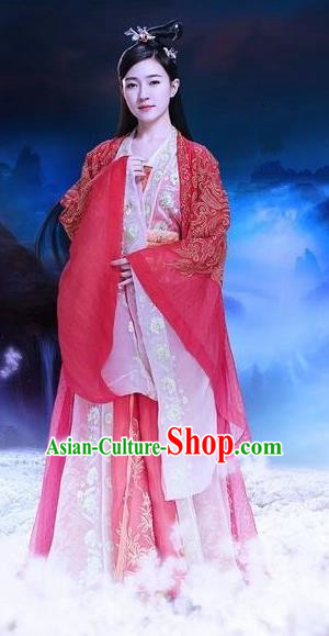 Traditional Ancient Chinese Elegant Swordsman Costume, Chinese Han Dynasty Princess Wedding Red Dress, Cosplay Chinese Television Drama Jade Dynasty Qing Yun Faction Peri Hanfu Embroidery Clothing for Women