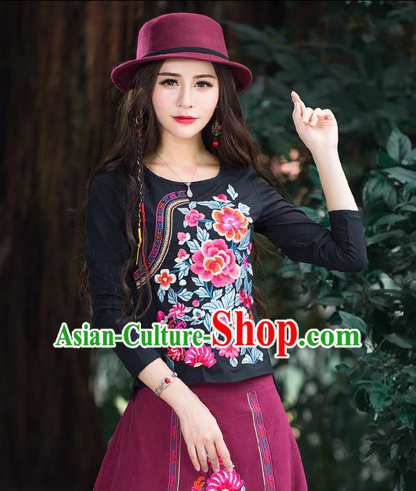 Traditional Chinese National Costume, Elegant Hanfu Embroidery Flowers Slant Opening Black T-Shirt, China Tang Suit Republic of China Blouse Cheongsam Upper Outer Garment Qipao Shirts Clothing for Women