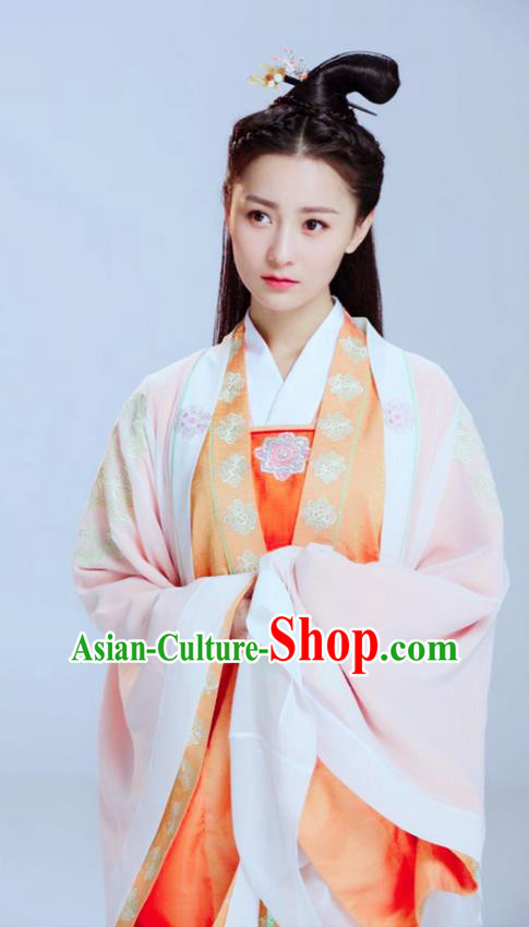 Traditional Ancient Chinese Elegant Swordsman Costume, Chinese Han Dynasty Young Lady Dress, Cosplay Chinese Television Drama Jade Dynasty Qing Yun Faction Peri Hanfu Trailing Embroidery Clothing for Women