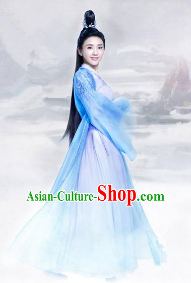 Traditional Ancient Chinese Elegant Swordsman Costume, Chinese Han Dynasty Young Lady Dress, Cosplay Chinese Television Drama Jade Dynasty Qing Yun Faction Princess Peri Hanfu Trailing Embroidery Clothing for Women