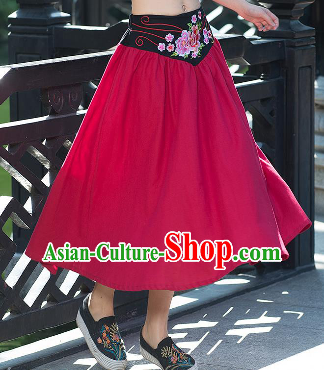 Traditional Ancient Chinese National Pleated Skirt Costume, Elegant Hanfu Embroidery Flowers Belt Long Red Skirt, China Tang Suit Bust Skirt for Women