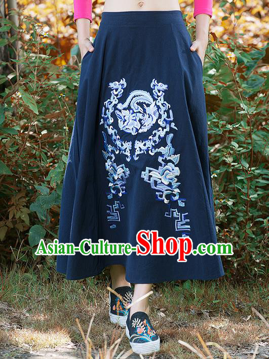 Traditional Ancient Chinese National Pleated Skirt Costume, Elegant Hanfu Embroidery Dragon and Phoenix Totem Long Navy Linen Skirt, China Tang Suit Bust Skirt for Women