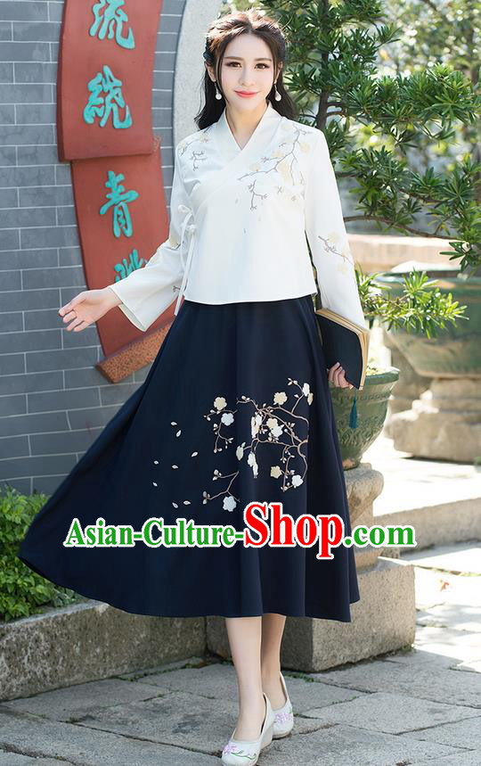 Traditional Ancient Chinese National Pleated Skirt Costume, Elegant Hanfu Embroidery Wintersweet Flowers Long Navy Skirt, China Tang Suit Bust Skirt for Women