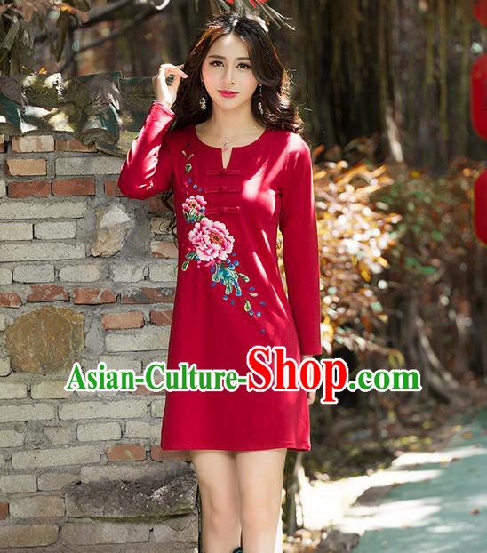 Traditional Ancient Chinese National Costume, Elegant Hanfu Mandarin Qipao Embroidery Flowers Red Dress, China Tang Suit Chirpaur Republic of China Plated Buttons Cheongsam Elegant Dress Clothing for Women
