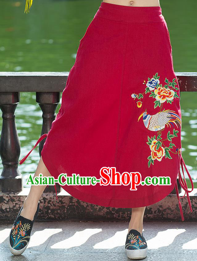 Traditional Ancient Chinese National Pleated Skirt Costume, Elegant Hanfu Embroidery Birds Flowers Long Red Irregular Skirt, China Tang Suit Bust Skirt for Women
