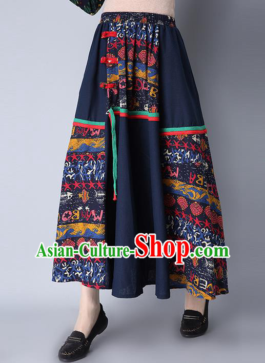 Traditional Ancient Chinese National Pleated Skirt Costume, Elegant Hanfu Flowers Long Skirt, China National Minority Tang Suit Big Swing Bust Skirt for Women
