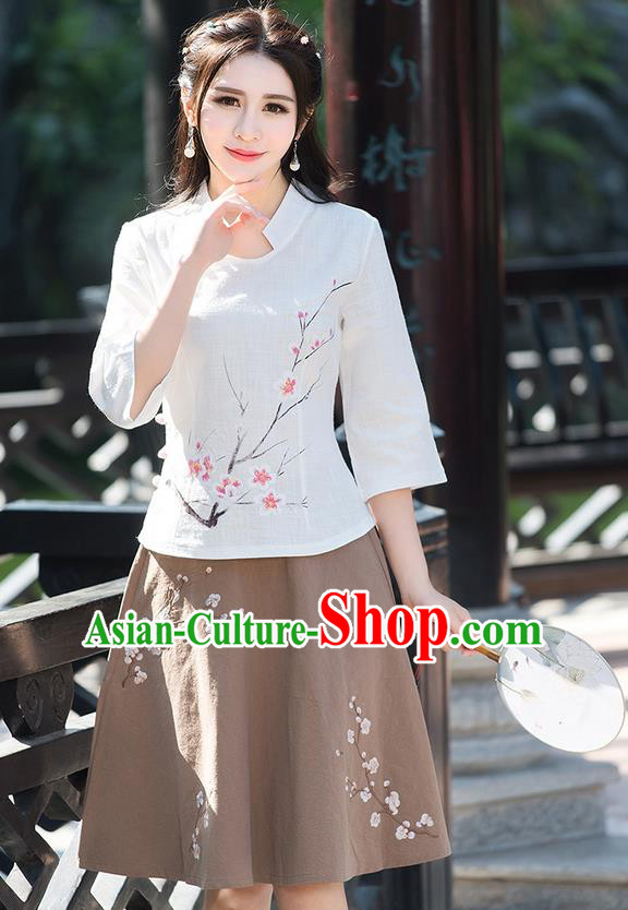 Traditional Ancient Chinese National Pleated Skirt Costume, Elegant Hanfu Embroidery Wintersweet Flowers Khaki Skirt, China Tang Suit Bust Skirt for Women