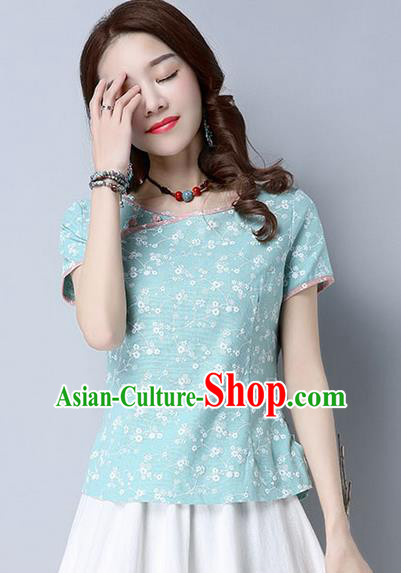 Traditional Chinese National Costume, Elegant Hanfu Flower Color Blue T-Shirt, China Tang Suit Republic of China Plated Buttons Blouse Cheongsam Upper Outer Garment Qipao Shirts Clothing for Women