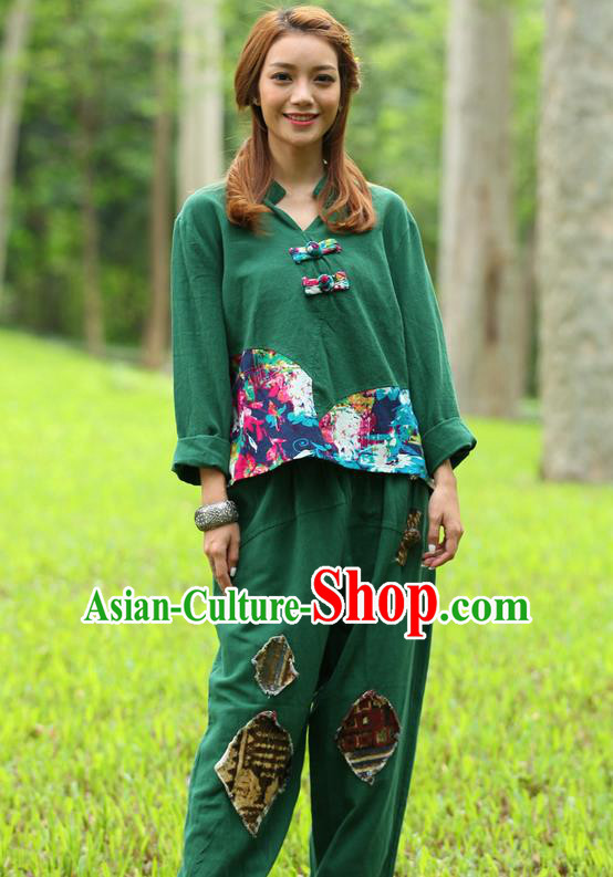 Traditional Chinese National Costume, Elegant Hanfu Joint Color Flowers Linen Green T-Shirt, China Tang Suit Plated Buttons Blouse Cheongsam Upper Outer Garment Qipao Shirts Clothing for Women