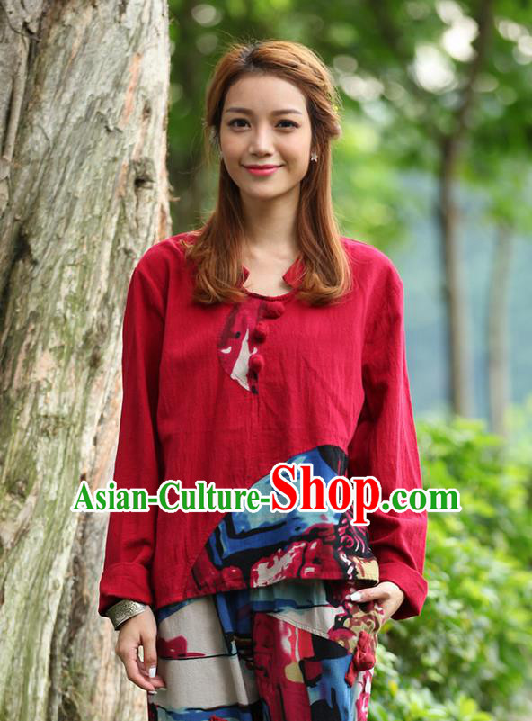 Traditional Chinese National Costume, Elegant Hanfu Joint Color Flowers Linen Plated Buttons Red T-Shirt, China Tang Suit Blouse Cheongsam Upper Outer Garment Qipao Shirts Clothing for Women