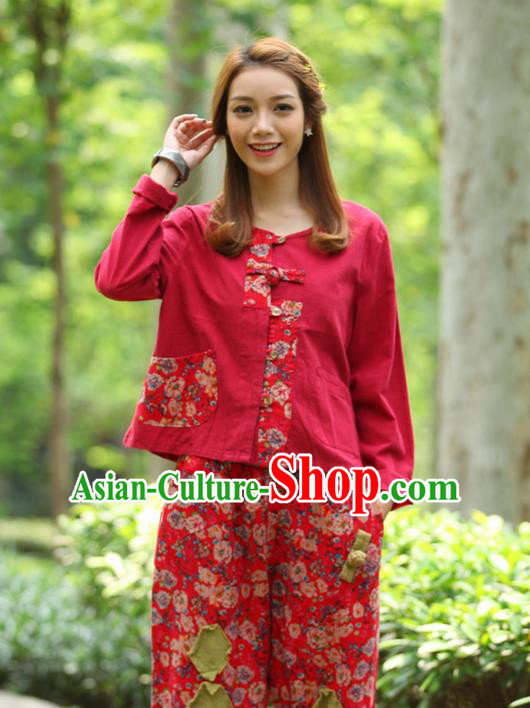 Traditional Chinese National Costume, Elegant Hanfu Patch Contrast Color Red T-Shirt, China Tang Suit Republic of China Plated Buttons Blouse Cheongsam Upper Outer Garment Qipao Shirts Clothing for Women