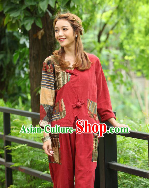 Traditional Chinese National Costume, Elegant Hanfu Joint Contrast Color Red T-Shirt, China Tang Suit Republic of China Plated Buttons Blouse Cheongsam Upper Outer Garment Qipao Shirts Clothing for Women