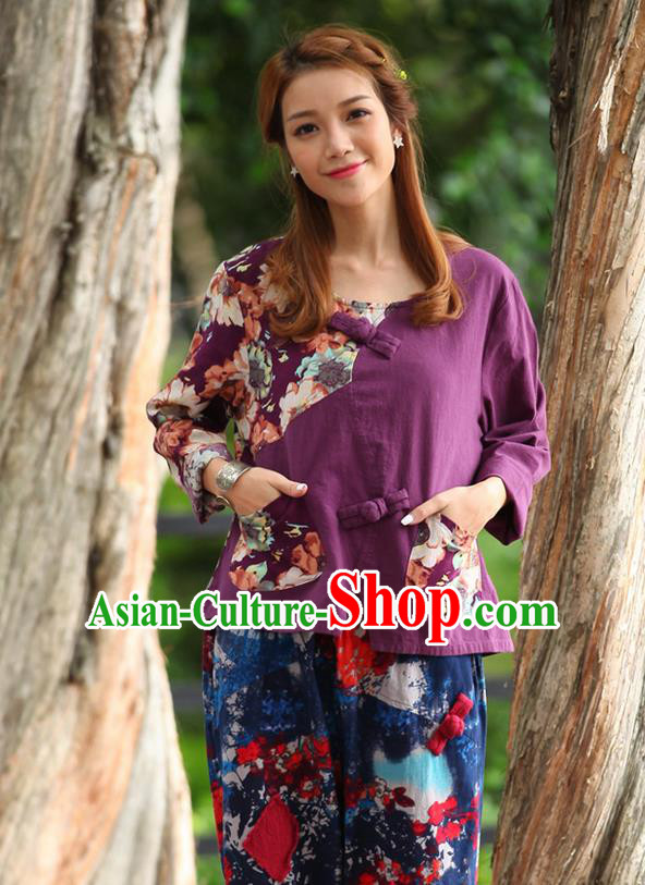 Traditional Chinese National Costume, Elegant Hanfu Joint Contrast Color Purple T-Shirt, China Tang Suit Republic of China Plated Buttons Blouse Cheongsam Upper Outer Garment Qipao Shirts Clothing for Women