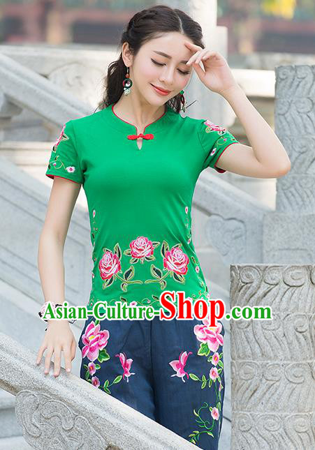 Traditional Chinese National Costume, Elegant Hanfu Embroidery Flowers Green T-Shirt, China Tang Suit Republic of China Plated Buttons Blouse Cheongsam Upper Outer Garment Qipao Shirts Clothing for Women