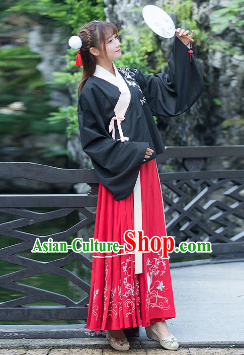 Traditional Ancient Chinese Costume, Elegant Hanfu Clothing Embroidered Young Lady Slant Opening Blouse and Dress, China Ming Dynasty Princess Elegant Blouse and Skirt Complete Set for Women