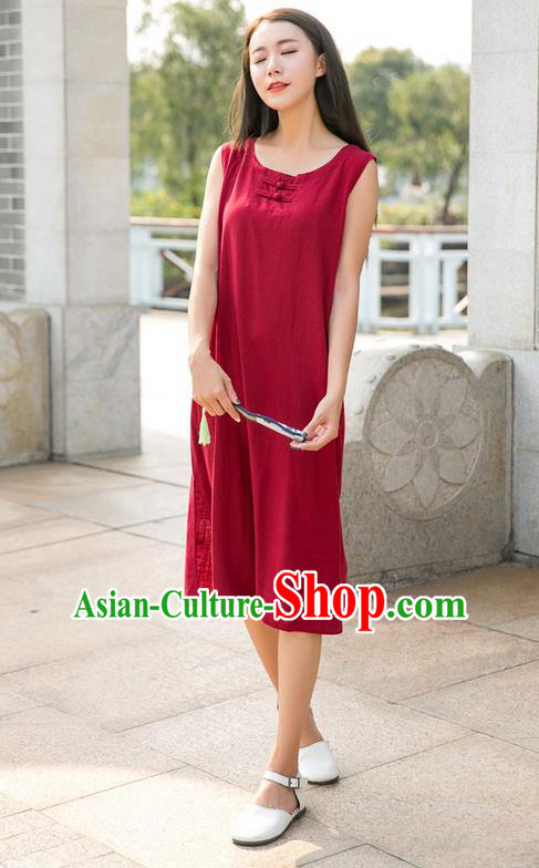 Traditional Ancient Chinese National Costume, Elegant Hanfu Mandarin Qipao Linen Red Dress, China Tang Suit Chirpaur Republic of China Plated Buttons Cheongsam Elegant Dress Clothing for Women