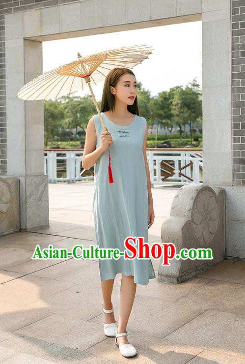 Traditional Ancient Chinese National Costume, Elegant Hanfu Mandarin Qipao Linen Blue Dress, China Tang Suit Chirpaur Republic of China Plated Buttons Cheongsam Elegant Dress Clothing for Women