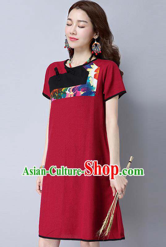 Traditional Ancient Chinese National Costume, Elegant Hanfu Mandarin Qipao Linen Red Gored Dress, China Tang Suit Chirpaur Republic of China Plated Buttons Cheongsam Elegant Dress Clothing for Women