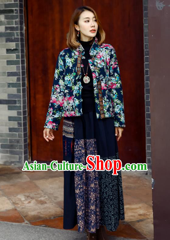 Traditional Ancient Chinese National Pleated Skirt Costume, Elegant Hanfu Floral Flowers Long Navy Skirt, China Tang Suit Bust Skirt for Women