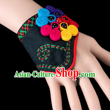 Traditional Chinese Miao Nationality Crafts, Yunnan Hmong Handmade Black Fabrics Bracelet Cuff Hand Decorative, China Miao Ethnic Minority Bangle Accessories for Women