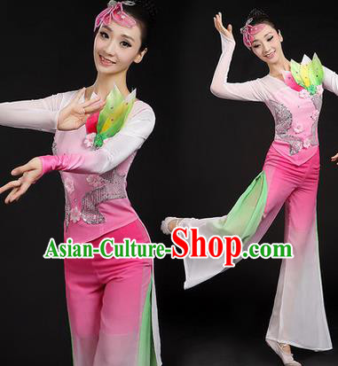 Traditional Chinese Yangge Fan Dancing Costume, Folk Dance Yangko Paillette Uniforms, Classic Lotus Dance Dress Drum Dance Pink Clothing for Women