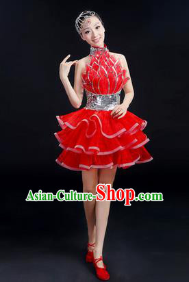 Traditional Modern Dancing Costume, Women Opening Classic Chorus Singing Group Dance Bubble Uniforms, Modern Dance Short Paillette Red Dress for Women
