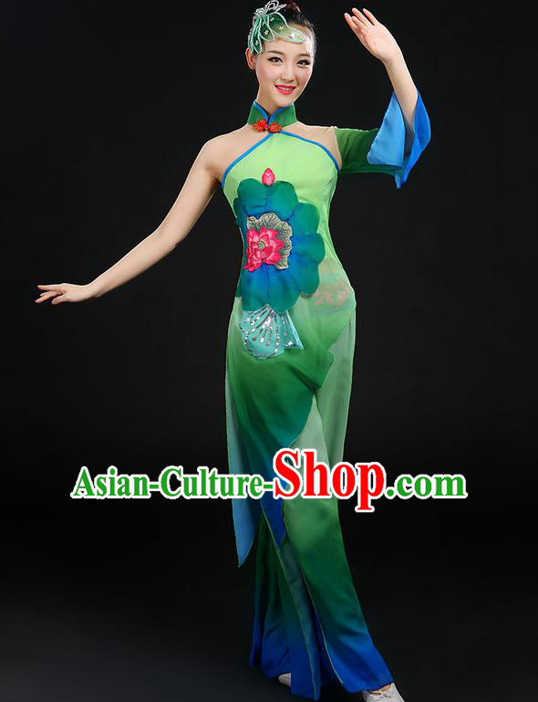 Traditional Chinese Yangge Fan Dancing Costume, Folk Dance Yangko Stand Collar Uniforms, Classic Dance Dress Drum Umbrella Dance Painting Lotus Clothing for Women