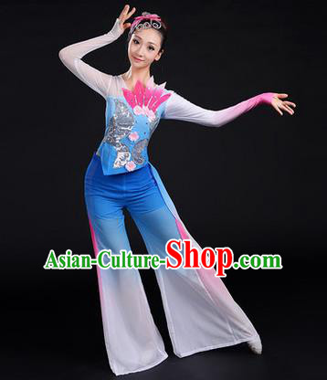Traditional Chinese Yangge Fan Dancing Costume, Folk Dance Yangko Uniforms, Classic Dance Elegant Dress Drum Dance Paillette Lotus Blue Clothing for Women