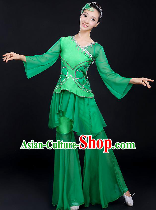 Traditional Chinese Yangge Fan Dancing Costume, Folk Dance Yangko Uniforms, Classic Lotus Dance Elegant Dress Drum Dance Paillette Green Clothing for Women