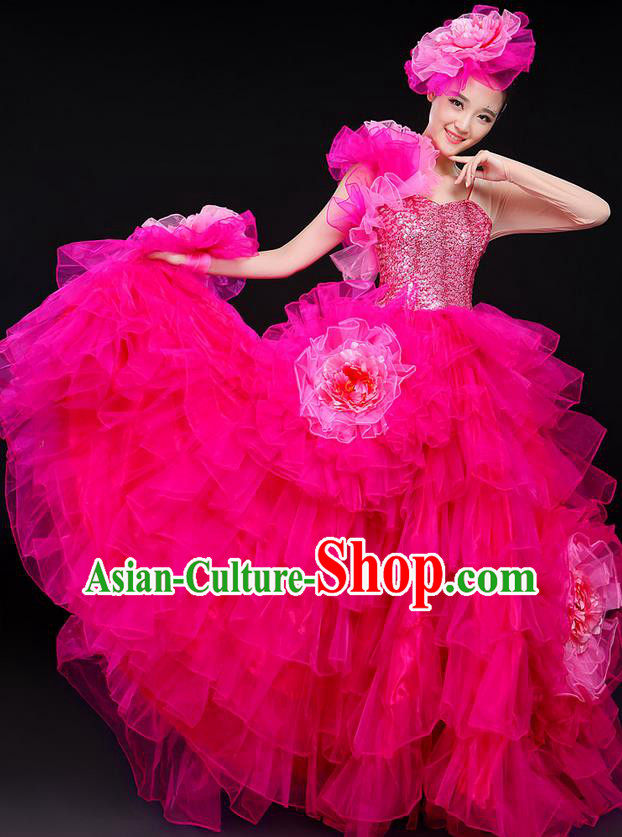 Traditional Chinese Modern Dancing Compere Costume, Women Opening Classic Chorus Singing Group Dance Big Swing Uniforms, Modern Dance Classic Dance Long Bubble Dress for Women