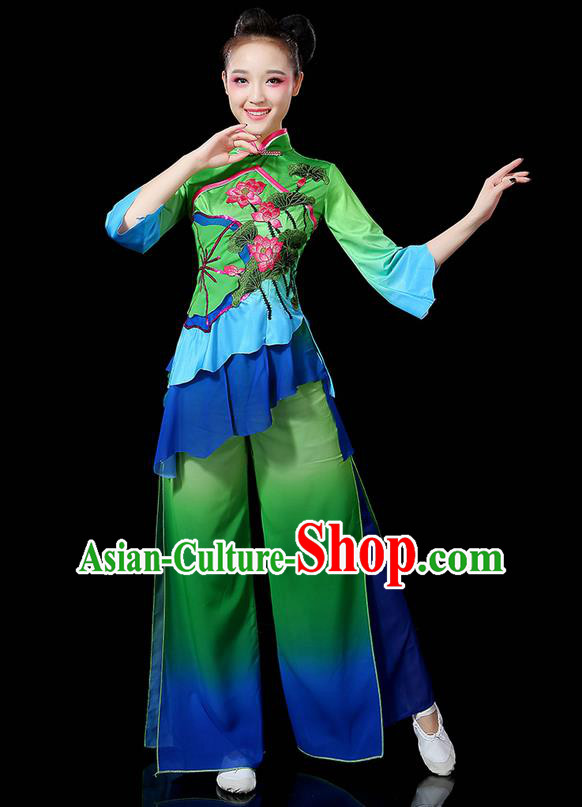Traditional Chinese Yangge Fan Dancing Costume, Folk Dance Yangko Uniforms, Classic Lotus Dance Elegant Dress Drum Dance Green Clothing for Women
