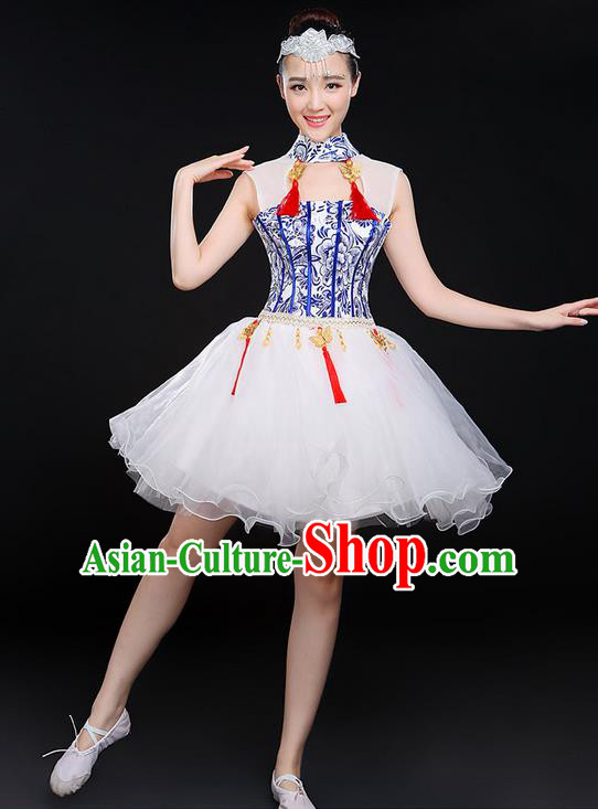 Traditional Chinese Modern Dancing Compere Costume, Women Opening Classic Chorus Singing Group Dance Uniforms, Modern Dance Classic Dance Bubble Cheongsam Short Dress for Women