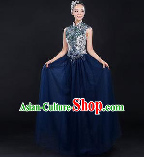 Traditional Chinese Modern Dancing Compere Costume, Women Opening Classic Chorus Singing Group Dance Bubble Uniforms, Modern Dance Classic Dance Big Swing Cheongsam Dress for Women