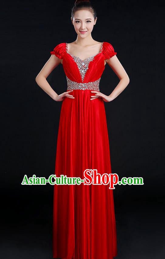 Traditional Chinese Modern Dancing Compere Costume, Women Opening Classic Chorus Singing Group Dance Crystal Dress Uniforms, Modern Dance Classic Dance Big Swing Red Dress for Women