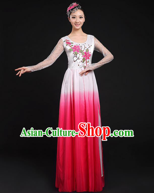 Traditional Chinese Modern Dancing Compere Costume, Women Opening Classic Chorus Singing Group Dance Dress Uniforms, Modern Dance Classic Dance Big Swing Pink Dress for Women